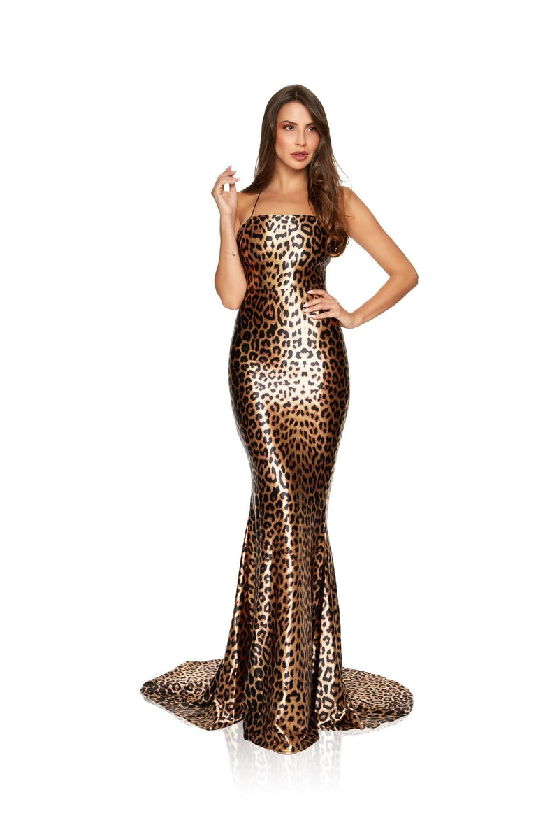 New-in, Luxe Collection, Hannah Gown in Animal Print Satin, Available in sizes XS - L, Same day and Next day delivery in Dubai, Fast shipping in UAE and international shipping available. Hi Maintenance - Online women's fashion boutique in United Arab Emirates.