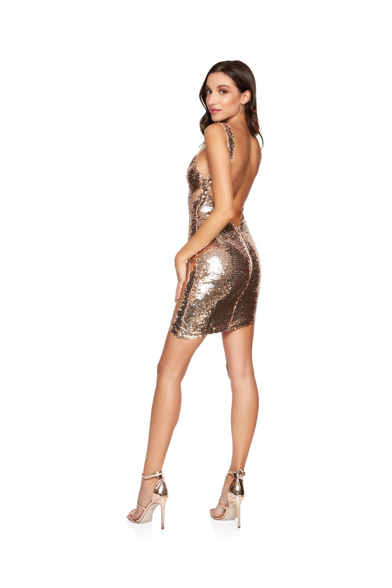 New-in, Luxe Collection, Karin party dress in Rose Gold Sequin, Available in sizes XS - L, Same day and Next day delivery in Dubai, Fast shipping in UAE and international shipping available. Hi Maintenance - Online women's fashion boutique in United Arab Emirates.