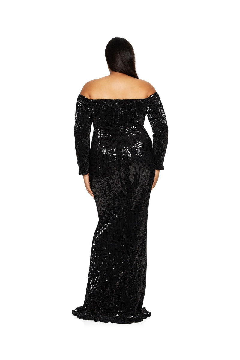 New-in, Curve Collection, Kerry Gown in Black Sequin, Available in plus sizes XL - XXXL, Same day and Next day delivery in Dubai, Fast shipping in UAE and international shipping available. Hi Maintenance - Online women's fashion boutique in United Arab Emirates.