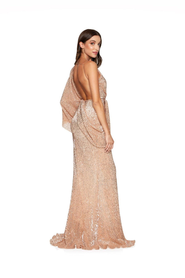 New-in, Luxe Collection, Lisa Gown in Rose Gold Sequin, Available in sizes XS - L, Next day delivery in Dubai, Fast shipping in UAE and international shipping available. Hi Maintenance - Online women's fashion boutique in United Arab Emirates.