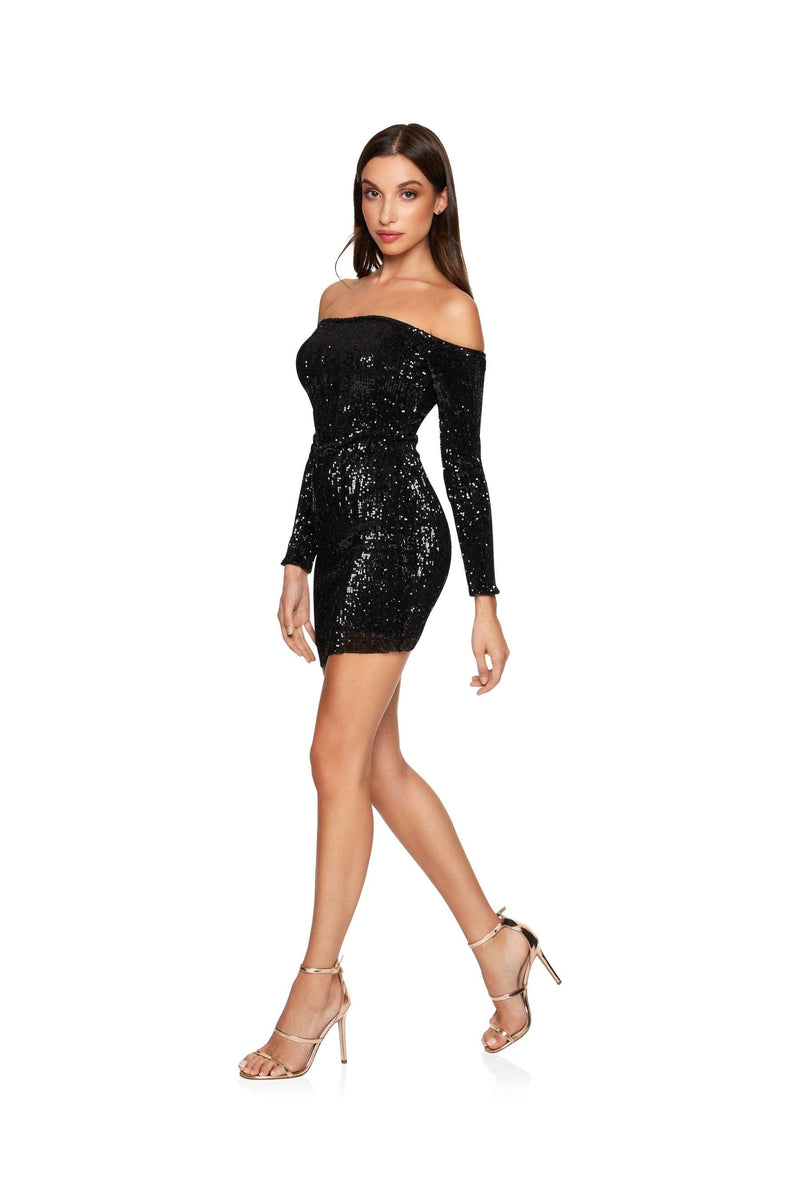 New-in, Main Collection, Michela in Black Sequin Party Dress, Available in sizes XS - L, Next day delivery in Dubai, Fast shipping in UAE and international shipping available. Hi Maintenance - Online women's fashion boutique in United Arab Emirates.