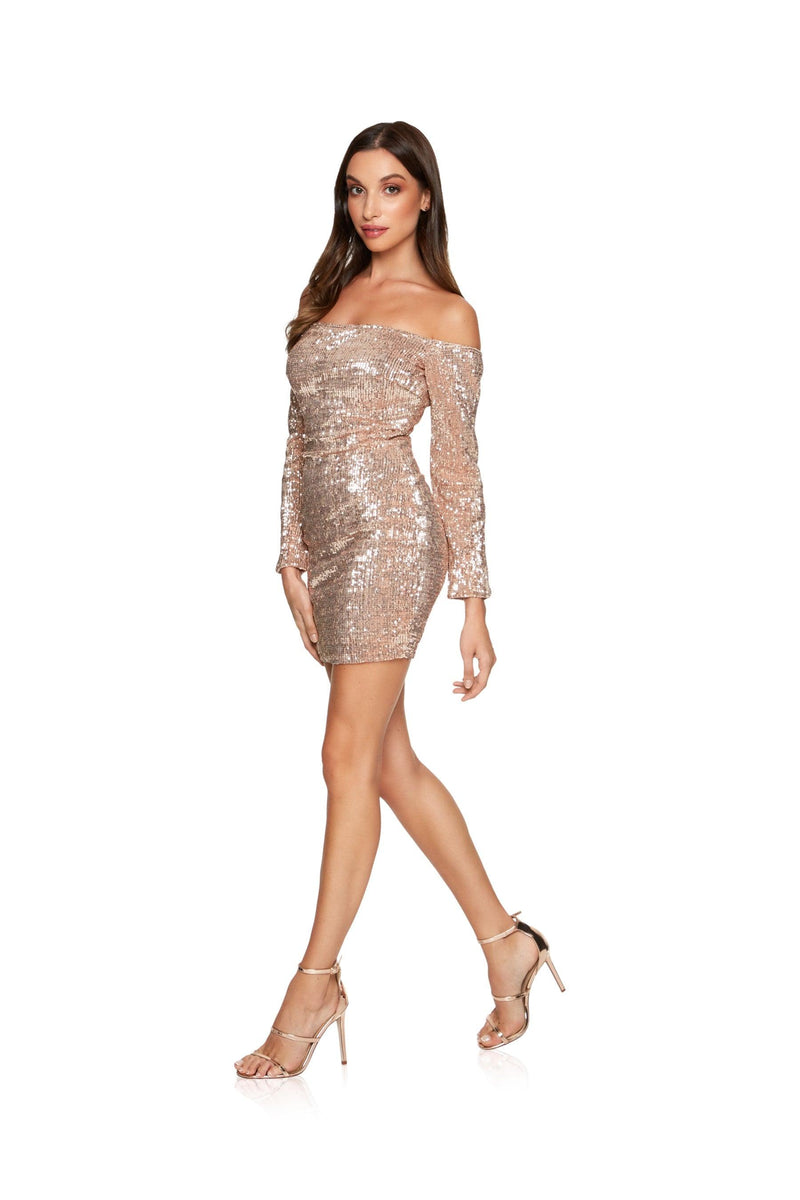 New-in, Main Collection, Michela in Rose Gold Sequin Party Dress, Available in sizes XS - L, Same day and Next day delivery in Dubai, Fast shipping in UAE and international shipping available. Hi Maintenance - Online women's fashion boutique in United Arab Emirates.