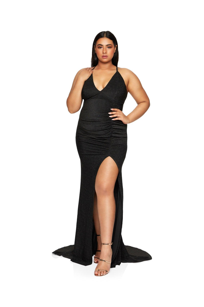 New-in, Curve Collection, Reena in Black Shimmer Evening Gown, Available in plus sizes XL - XXXL, Same day and Next day delivery in Dubai, Fast shipping in UAE and international shipping available. Hi Maintenance - Online women's fashion boutique in United Arab Emirates.