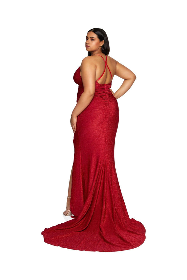 New-in, Curve Collection, Reena in Red Shimmer Evening Gown, Available in plus sizes XL - XXXL, Next day delivery in Dubai, Fast shipping in UAE and international shipping available. Hi Maintenance - Online women's fashion boutique in United Arab Emirates.