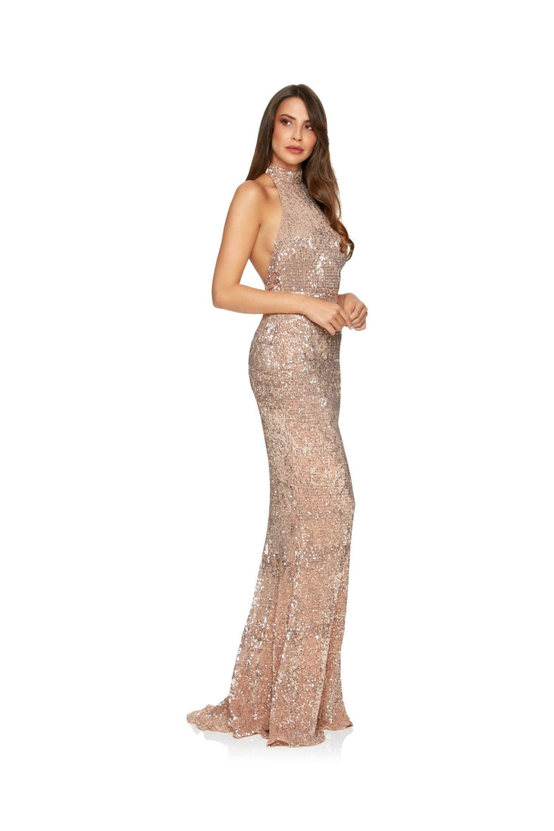 New-in, Luxe Collection, Samantha Gown in Rose Gold Sequin, Available in sizes XS - L, Next day delivery in Dubai, Fast shipping in UAE and international shipping available. Hi Maintenance - Online women's fashion boutique in United Arab Emirates