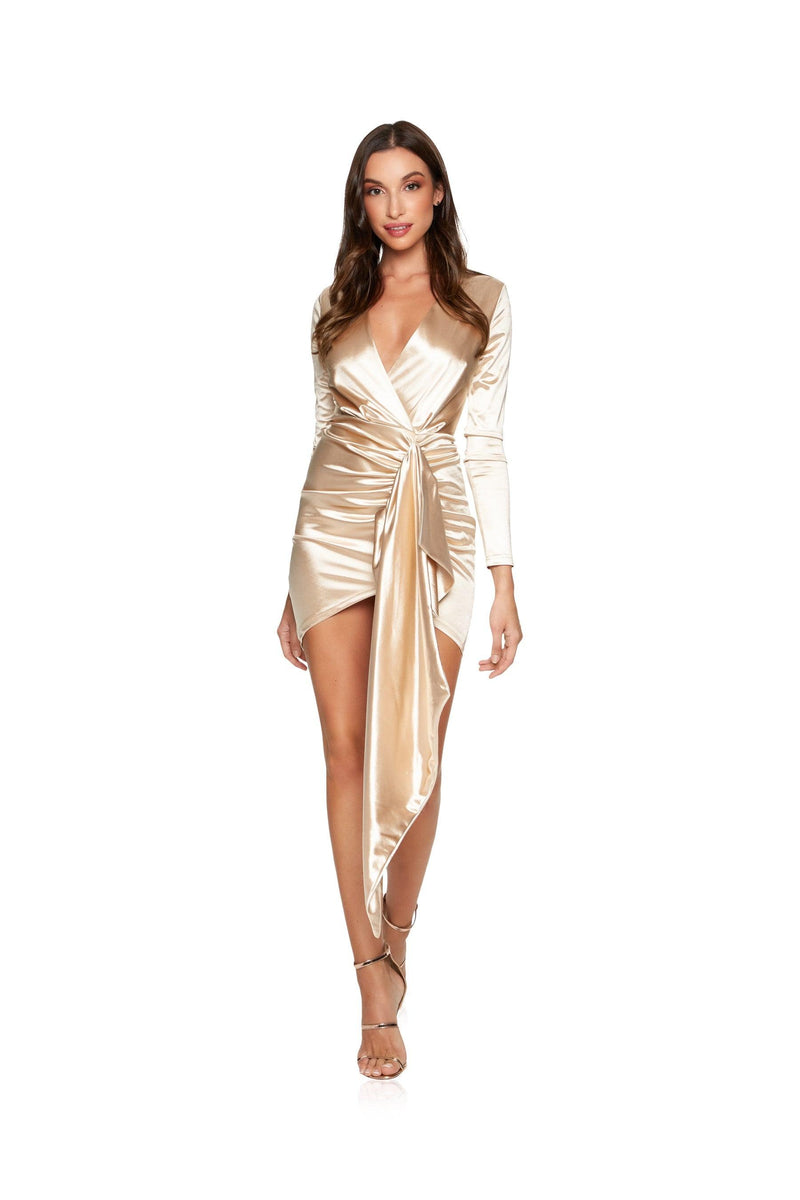 New-in, Main Collection, Victoria in Gold Satin Evening Dress, Available in sizes S - L, Next day delivery in Dubai, Fast shipping in UAE and international shipping available. Hi Maintenance - Online women's fashion boutique in United Arab Emirates.