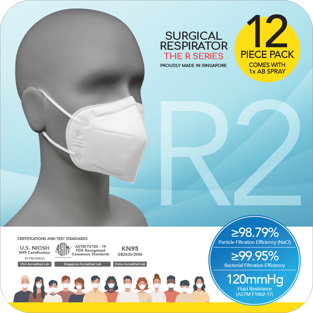 Special Deals for PAIRC: Surgical Respirator R2 Earband (12pcs) with 1 bottle of Anti-Bac Spray