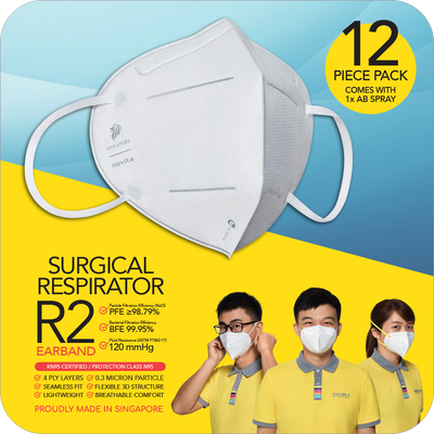 Corp-P: Surgical Respirator R2 Earband (12pcs) with 1 bottle of Anti-Bac Spray