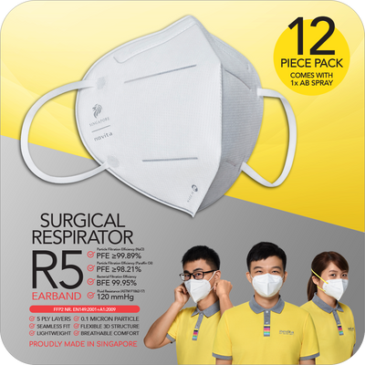 PWP Offer: Surgical Respirator R5 Earband (12pcs) with 1 bottle Anti-Bac Spray (only valid with any purchase made in eStore)