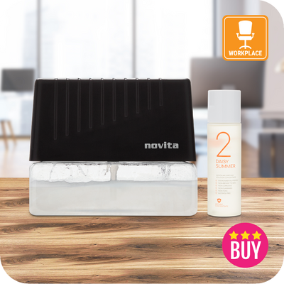 Black Air Revitalizer with 1 bottle of Air Purifying Solution Concentrate for Workplace