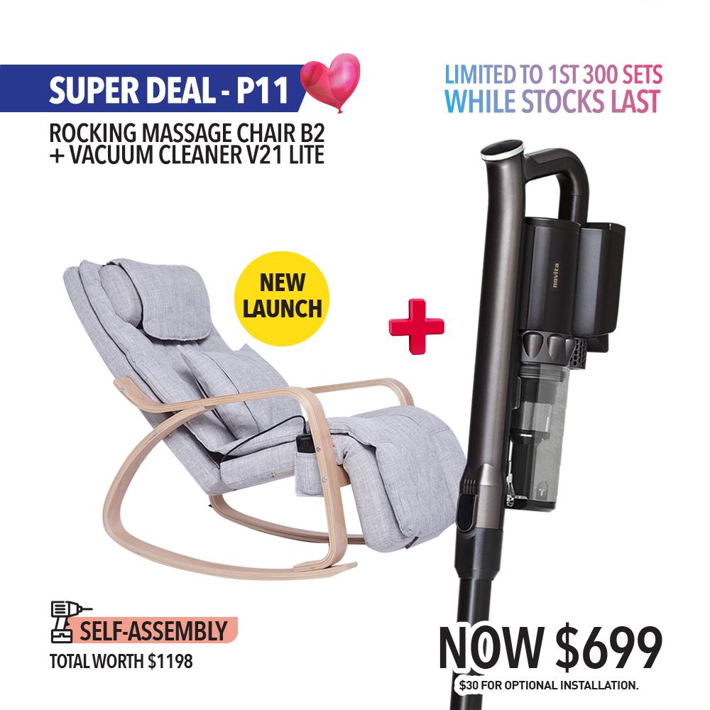 New Launch Super Deal P11: Rocking Massager Chair B2 + Cordless Vacuum Cleaner V21 Lite
