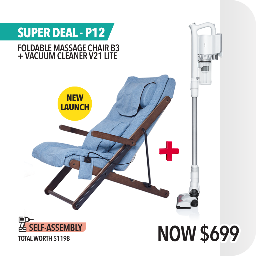 New Launch Super Bundle P12: Foldable Massage Chair B3 + Cordless Vacuum Cleaner V21 Lite