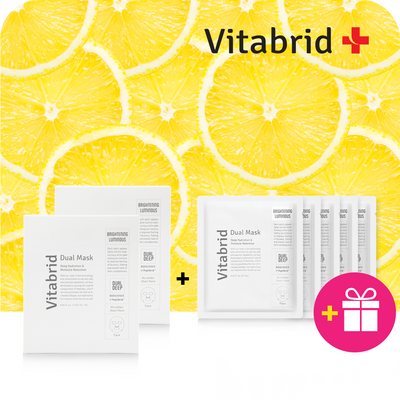 [Buy 2 Get 1 Free] Vitabrid C¹² Dual Mask: Brightening & Luminous (Box of 5 Pcs)