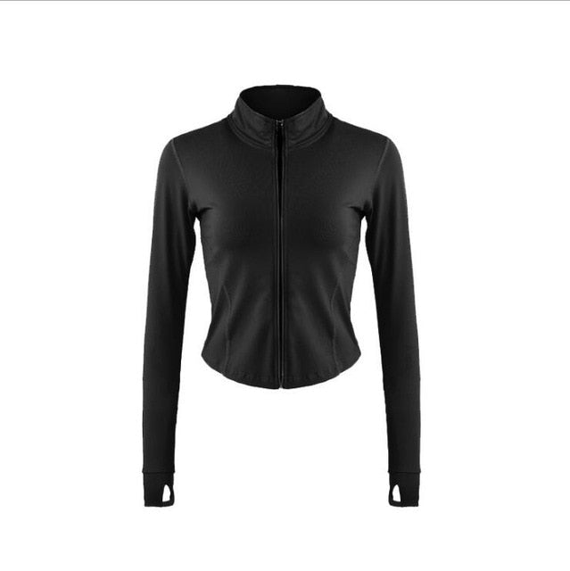 Autumn Sport Jacket Women Long Sleeve Zip Fitness Yoga Shirt Top Workout Gym Activewear Sport Running Coats Training Clothes