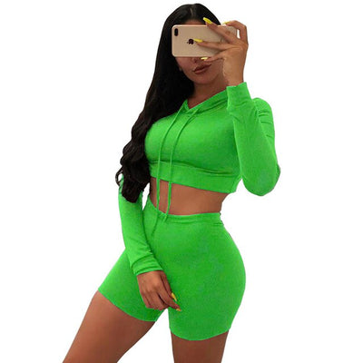 2020 Fitness Solid Bandage Tracksuit Women Lounge wear Hoodie Crop Top with Biker Shorts Two Piece Set Outfit Jogging Femme