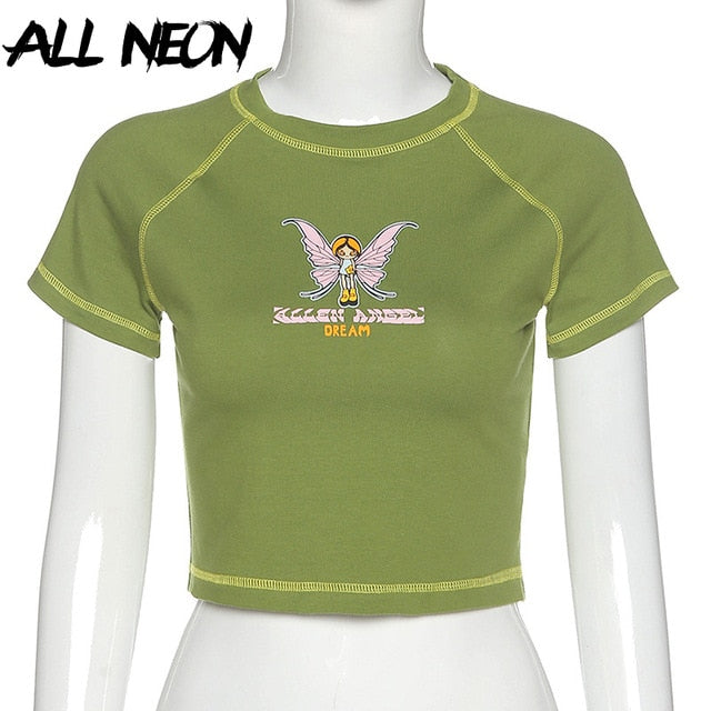 ALLNeon E-girl Butterfly Graphic and Letter Printing Stitch Green Crop Tops Y2K Summer Grunge Style O-neck Short Sleeve T-shirts