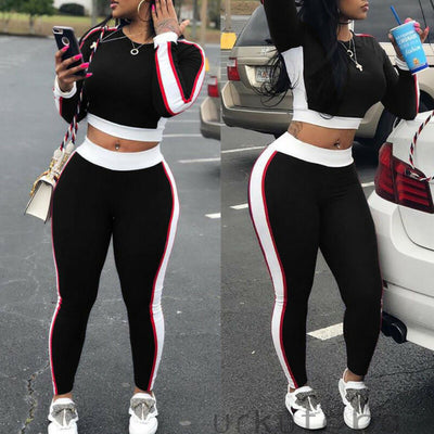 Two Piece Set Women New Fashion Long Sleeve White Stripes Hoodie + Pants Clothes Set Workout Fitness Cotton Sportwear ropa mujer