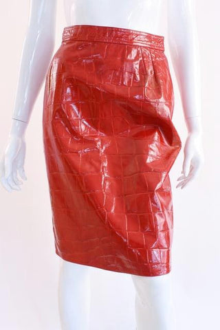 Vintage UNGARO Red Leather Skirt
