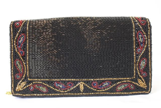 1980s WALBORG Black Beaded Evening Bag