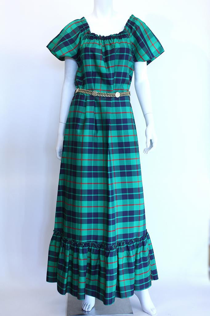 Vintage 70's CLOVIS RUFFIN Plaid Maxi Dress