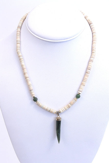 Vintage Shell & Jade Tooth Necklace
