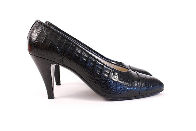Vintage Chanel Black Crocodile Heels