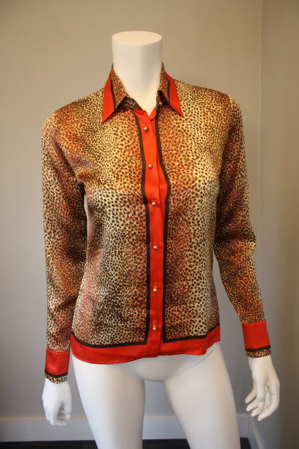 ROBERTO CAVALLI Red, Brown, & Black Leopard Print Silk Blouse with Gold Buttons & RC Cufflinks