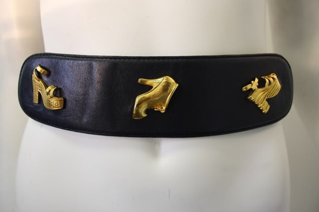 1980s SALVATORE FERRAGAMO Wide Belt with Shoe Charms