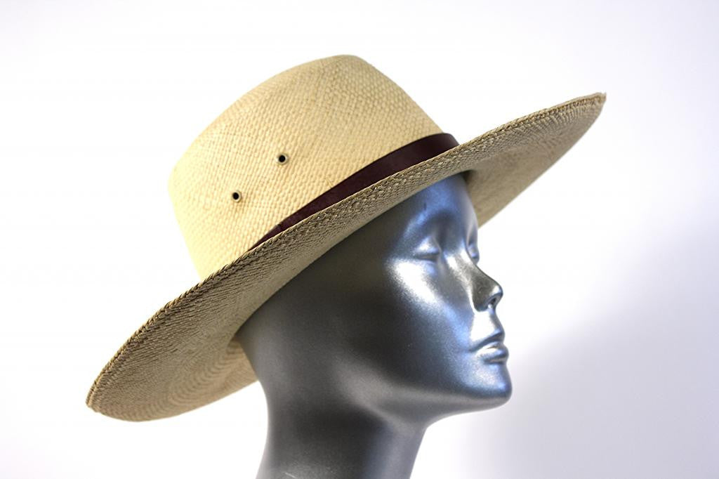 RALPH LAUREN Straw Hat w/Box & Removable Feather Accent