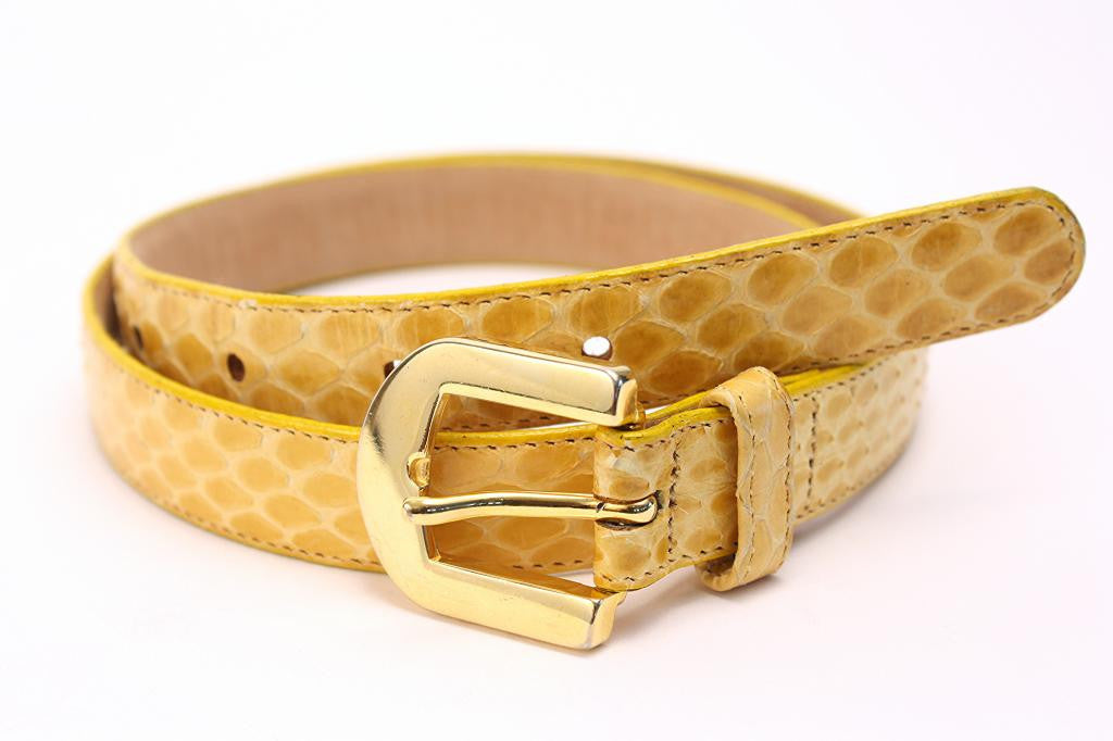 Vintage PIERRE CARDIN Yellow Snakeskin Belt