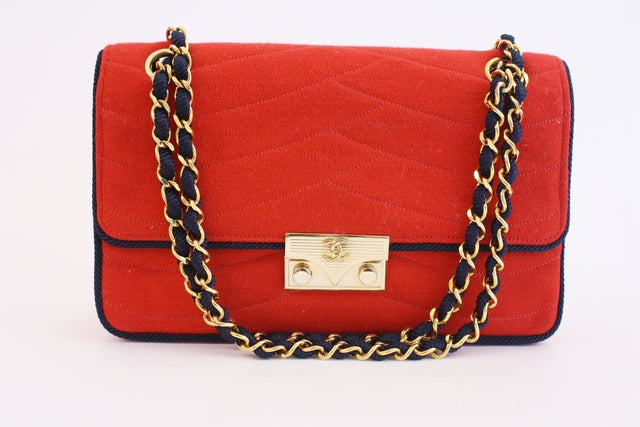 Vintage Couture Chanel Red Flap Bag