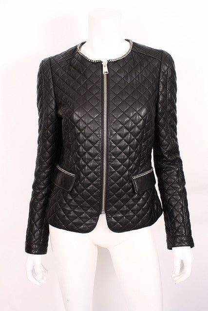 Anine Bing Quilted Leather Jacket with chain