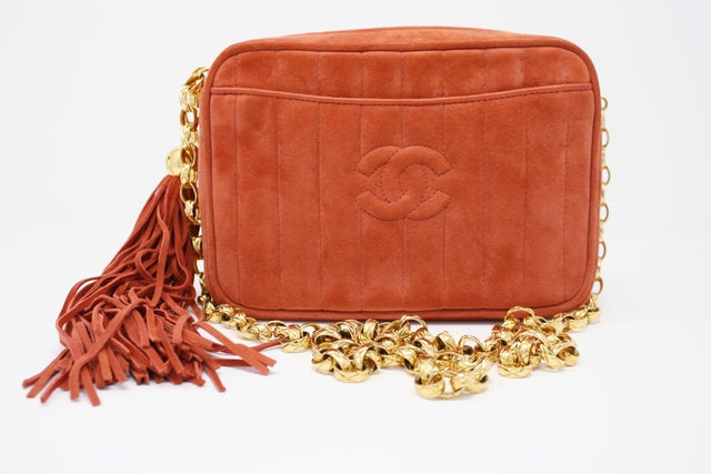b24f474d2400 Rare Vintage CHANEL Orange Camera Bag at Rice and Beans Vintage