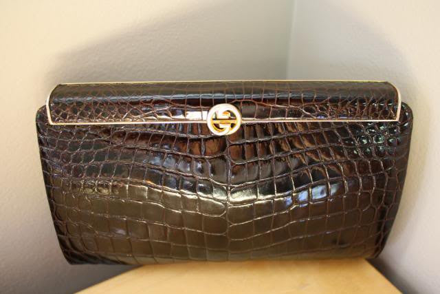 RARE Vintage Early 80's GUCCI Brown Alligator Frame Evening Bag Clutch with Gold GG, Dustbag, & Box