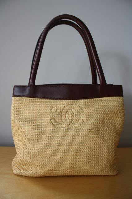 CHANEL Natural Woven Straw & Brown Leather Tote with Quilted CC