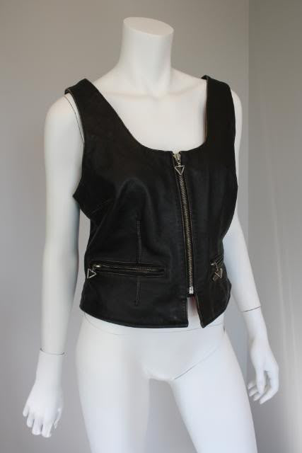 Vintage 80's/90's HARLEY DAVIDSON Black Leather Vest Jacket with Great Details
