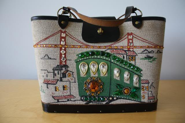 "Vintage 60's ENID COLLINS San Francisco ""Cable Car"" Tote Handbag with Jewels"