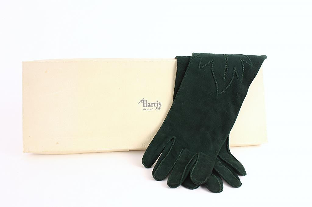 Vintage 50's Green Suede Gloves w/Leaf Design