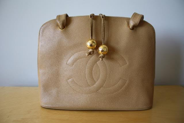 CHANEL Beige Caviar Leather Large Tote Bag With Quilted CC & Double CC Golden Ball Zipper Pulls