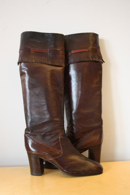 Rare Vintage 60's GUCCI Brown Knee High Boots with Fringed Tops, Size 39