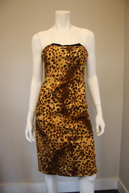 90'S Leopard Print Strapless Dress with Built in Bustier & Ruched Back