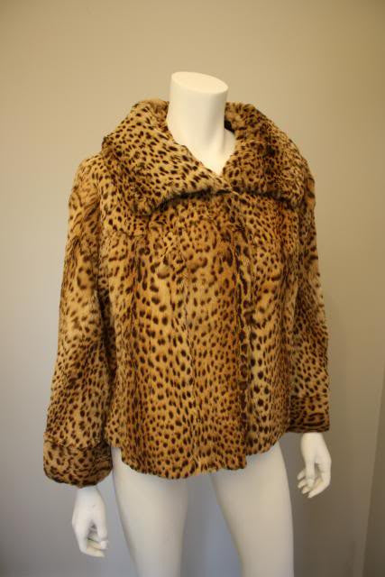 Vintage 50's Genuine Geoffrey Cat Fur Leopard Waist Length Coat