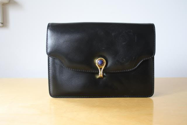 Vintage Late 50's Early 60's GUCCI Black Leather Convertible Handbag to Clutch with Lapis Lazuli & Gold Clast