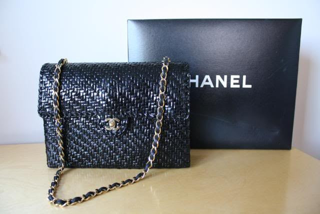 RARE vintage CHANEL Black Lacquered Woven Wicker Jumbo Flap Bag with Gold CC Clasp & Chain Straps with Box