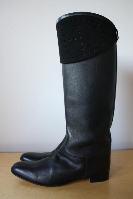 Vintage HERMES Black Leather Riding Boots with Black Suede H Removable Spats, sz 39.5