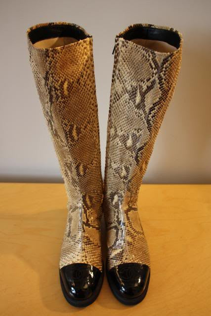 CHANEL Python Snake Skin Knee High Boots with Black Patent Leather CC Cap Toes, Size 38