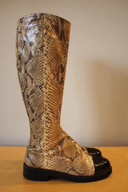 7bd06c2c752 CHANEL Python Snake Skin Knee High Boots with Black Patent Leather CC Cap  Toes