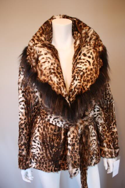 MAXMILLIAN New with Tags Leopard or Lynx Dyed Kid Fur Jacket with Shawl Collar, Belt, & Fox Fur Trim