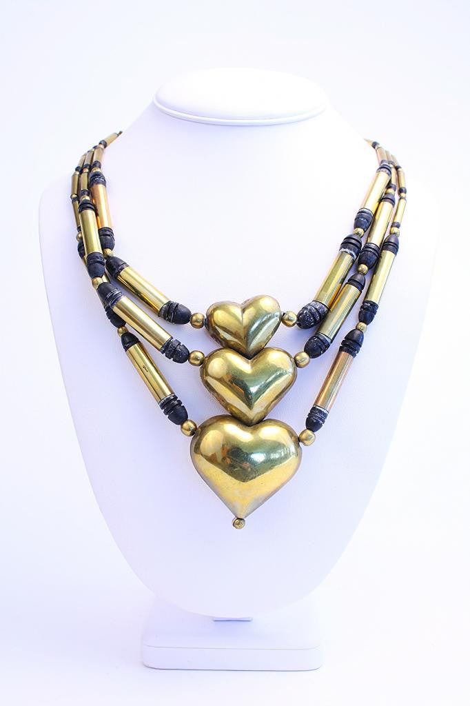 Vintage Brass & Stone Stacked Heart Necklace