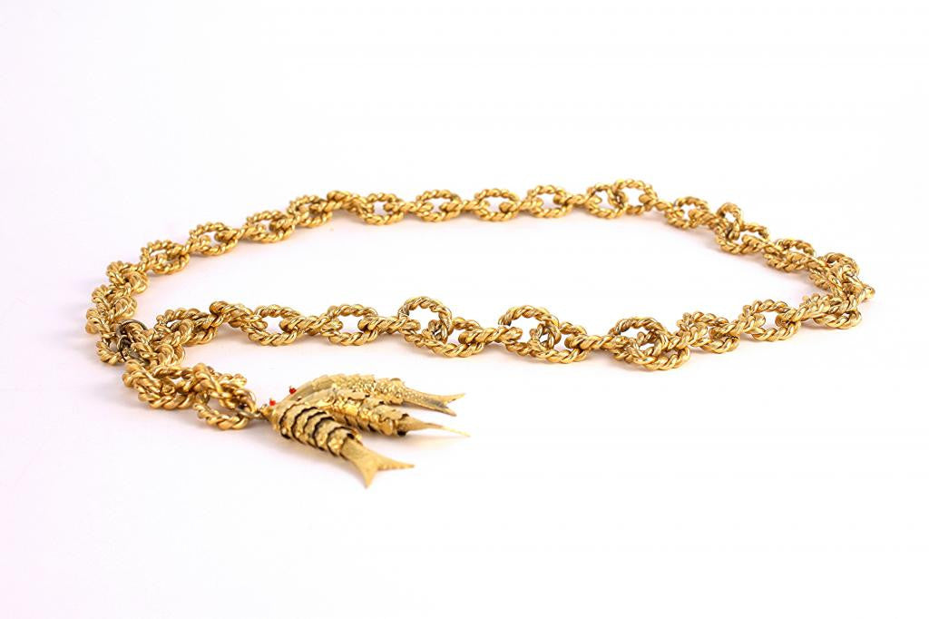 Vintage 70's Gold Chain Belt with Fish